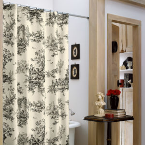 Bouvier Black Collection Shower Curtain - Main Toile Print